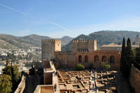 View on a courtyard of the Alcazaba,Granada