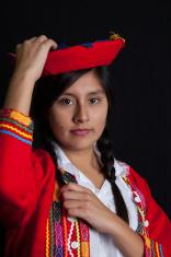 Bolivian women in national clothing