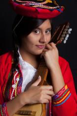 woman playing the Charango