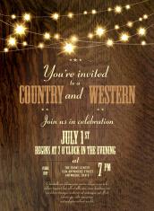Antique oak Country western invitation design template with stri