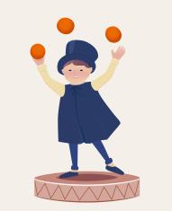 Cartooned Happy Juggler Boy on Top of a Platform