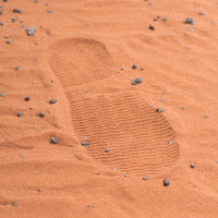 Red footstep on mars surface