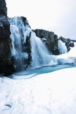 Kirkjufellsfoss (Church Mountain Falls), Iceland, in winter