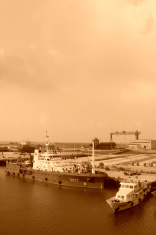 ships moored at the pier in a shipyard