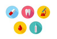 Trendy Flat science icons. Vector illustration. Medical icons se