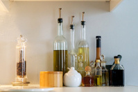 oil bottles on shelf