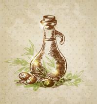 Vintage background with olive oil