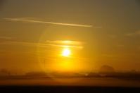 Sunbeam on a misty morning