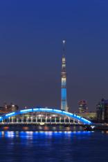 Tokyo Skytree and the Eitai bridge in Tokyo at dusk
