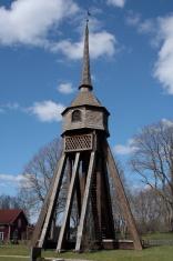 Wooden bell tower at Angelstad Kyrka Sweden