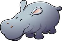Cute Friendly Hippo Vector Illustration