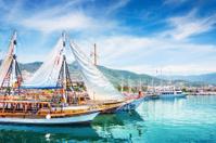 Tourist boats in port of Alanya, Turkey