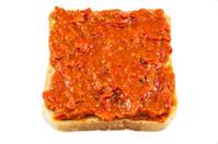 Lutenica on a slice bread - traditional Bulgarian snack