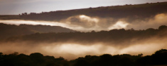dusk landscape with mist,derbyshire,britain