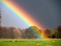 rainbow and landscape near Matlock,Derbyshire,Britain