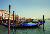 Gondolas moored. Venice, Italy