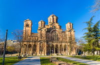 View of St. Mark Church from Tasmajdan Park in Belgrade