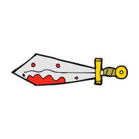 comic cartoon bloody sword