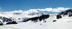 Snow capped mountain panorama