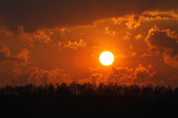 orange sunset on mountain