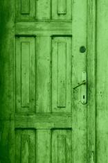 green old closed door