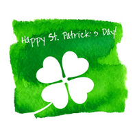 St. Patrick's Day Hand Made Watercolor Background or Card.