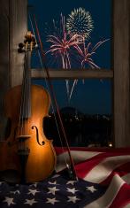 Violin w American flag and fireworks