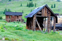 Remains of Animas Forks Ghost Town in Colorado.