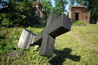 felled grave cross