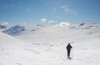 Female cross-country skier is climbing a hill in Jotunheimen