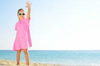 Adorable girl at beach