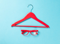 Red glasses and hanger