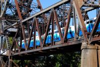 Commuter train on bridge