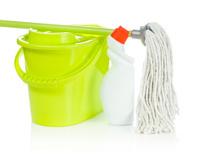 bucket mop and bottle