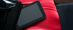 Red satin pov digital tablet display clipping path