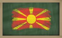 flag of macedonia on green blackboard