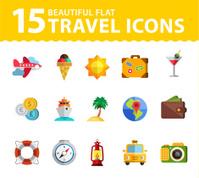 Vector summer icons. Flat design trend