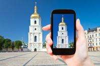 tourist taking photo of Saint Sophia Cathedral