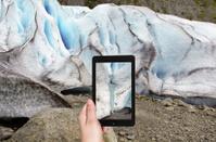 taking photo of spring in briksdal glacier Norway