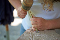 Working on a stone