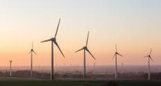 sundown on a wind farm