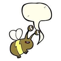 cartoon happy bee with speech bubble