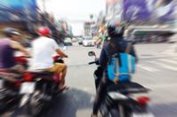 Motorcycles Waiting At Traffic Light