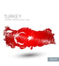 Scribble stylized map of Turkey