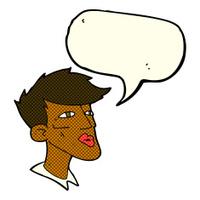 cartoon male model guy with speech bubble