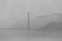 Golden Gate Bridge: Gray-tone study in ground fog