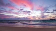 Purple Sunrise on Waimanalo Beach, Hawaii