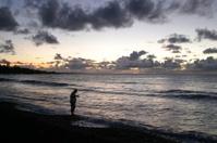 Fisherman at Sunrise in Hawaii