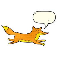 cartoon running fox with speech bubble