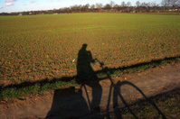Shadow of a biker
